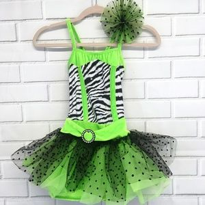Neon Green and Zebra Stripe Tutu Costume Sz 8-10